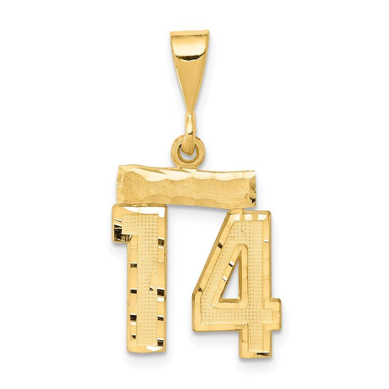 Quality Gold 14k Small Diamond-cut Number 14 Charm