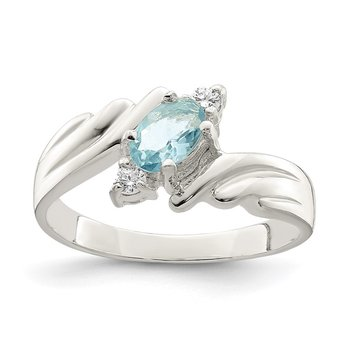 Sterling Silver Light Blue Oval CZ w/Side Stones Ring