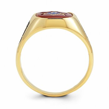 14k Men's Synthetic Ruby Masonic Ring