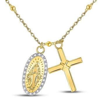 Yellow-tone Sterling Silver Womens Round Diamond Guadalupe Cross Rosary Necklace 1/10 Cttw