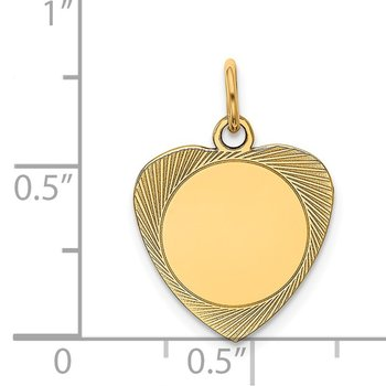 14k Etched .027 Gauge Engravable Heart Disc Charm