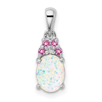 Sterling Silver Rhod-plate Dia. Cr.Pink Sapp. Simulated Opal Pendant