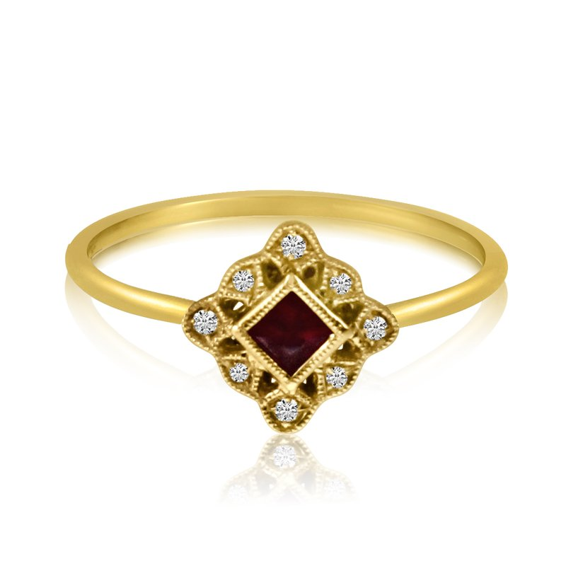 Color Merchants 14k Yellow Gold Filigree Princess Ruby and Diamond Ring
