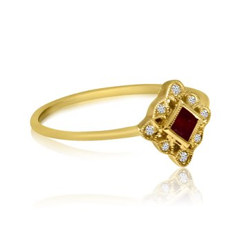 14k Yellow Gold Filigree Princess Ruby and Diamond Ring