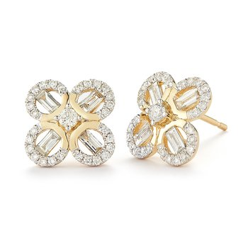 Beautiful flower Design round & baguette Diamond Earrings 0.83C TW
