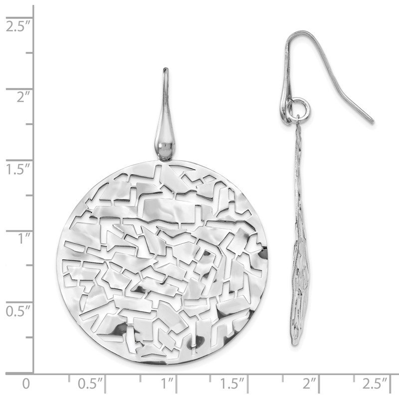 Leslie's Italian Gold Leslie's SS Rhodium-plated Circle Earrings
