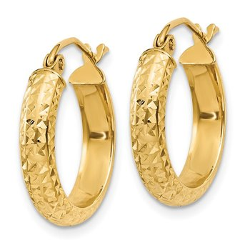 14K Diamond-cut 3.5x17mm Hollow Hoop Earrings