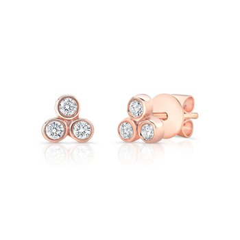 Rose Gold Petite Three Stone Bezel Studs