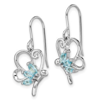 Sterling Silver Polished Blue Topaz Dragonfly Earrings