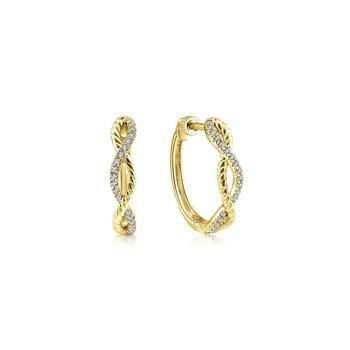 14K Yellow Gold 15mm Twisted Diamond Huggie Earrings