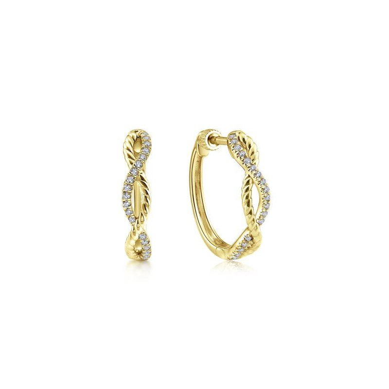 Gabriel Fashion Top Picks 14K Yellow Gold 15mm Twisted Rope and Diamond Huggie Earrings