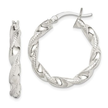 Sterling Silver Twisted and Textured Hoop Earrings