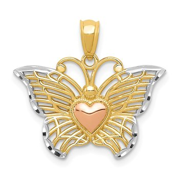 14k Two-tone w/White Rhodium Butterflyw/Heart Pendant