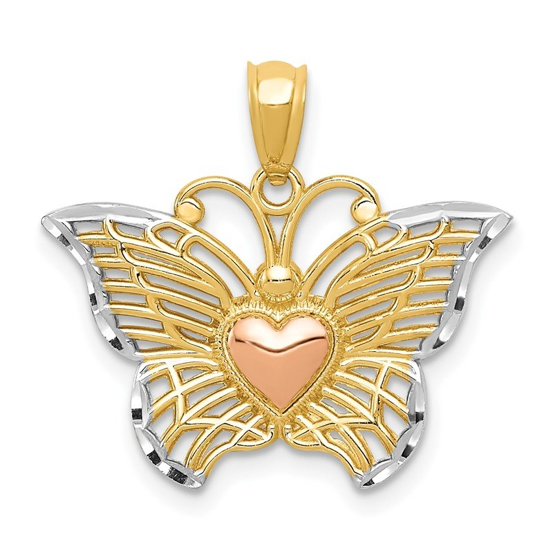 Quality Gold 14k Two-tone w/White Rhodium Butterflyw/Heart Pendant