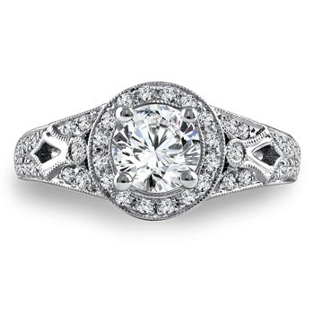 Diamond Halo Engagement Ring Mounting in 14K White Gold with Platinum Head (.63 ct. tw.)