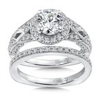 Caro74 Diamond Halo Engagement Ring Mounting in 14K White Gold with Platinum Head (.63 ct. tw.)