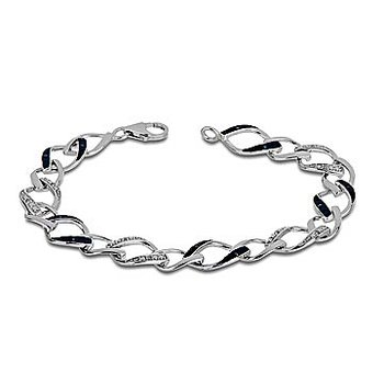 10K WG Alternating Blue and White Diamond Fashion Bracelet in a Leaf Shaped Link