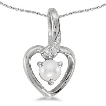 10k White Gold Freshwater Cultured Pearl And Diamond Heart Pendant