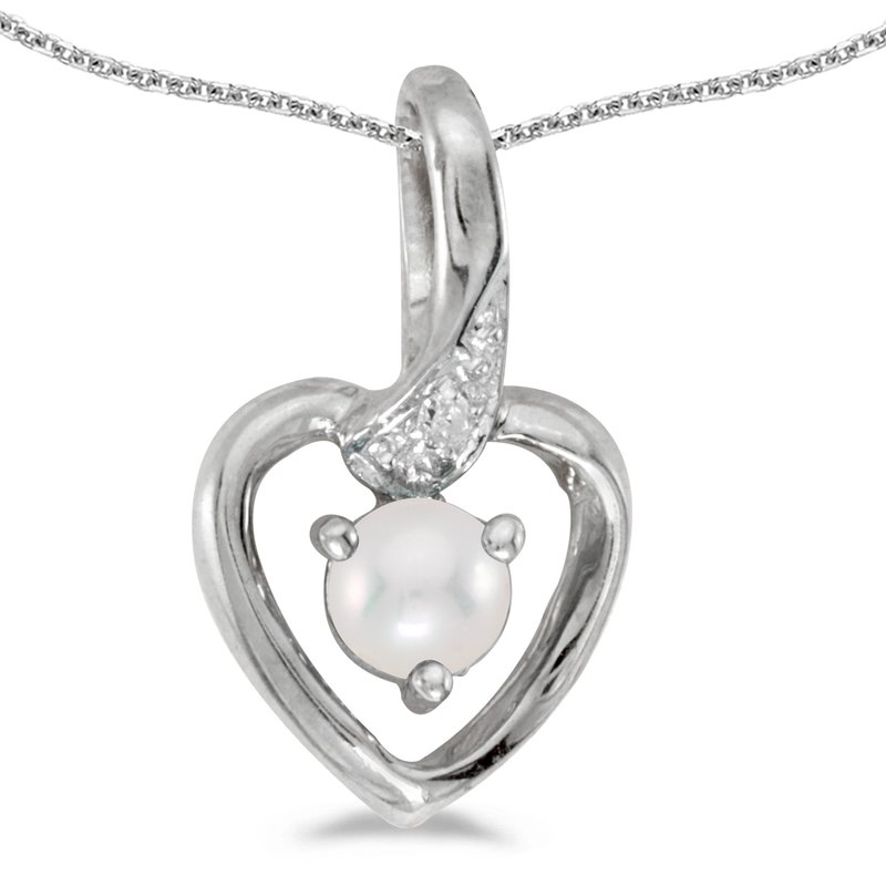 Color Merchants 10k White Gold Freshwater Cultured Pearl And Diamond Heart Pendant