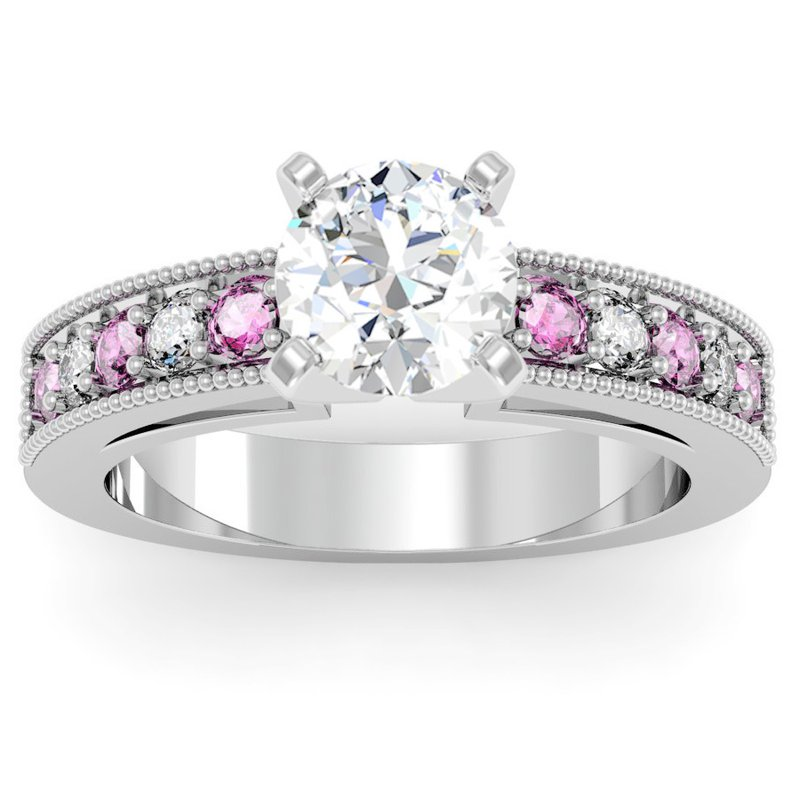 California Coast Designs Milgrain Pave Diamond & Pink Sapphire Engagement Ring