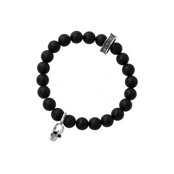 8Mm Black Onyx Bead Bracelet With Silver Skull