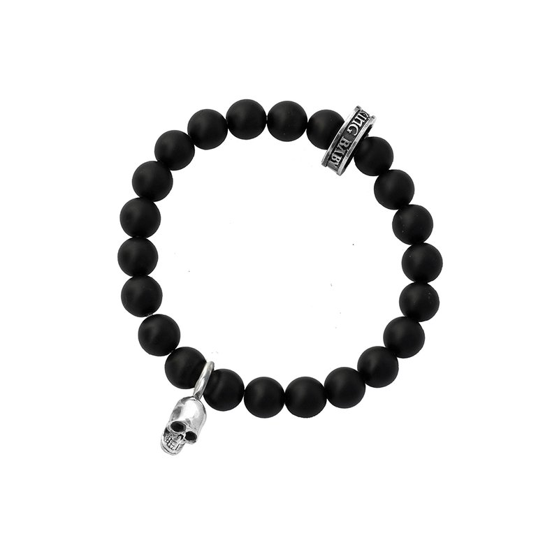 King Baby 8Mm Black Onyx Bead Bracelet With Silver Skull