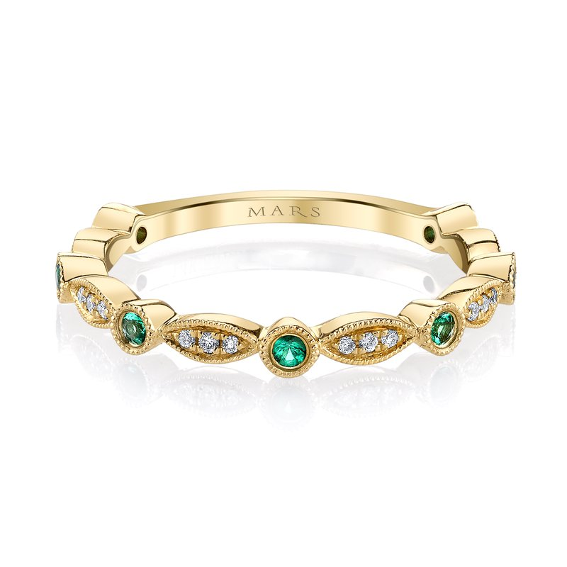 MARS Jewelry MARS 26935YGEM Stackable Ring, 0.06 Dia, 0.12 Emerald