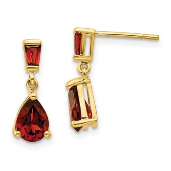 14k Gold Garnet Dangle Post Earrings