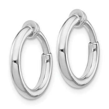 Sterling Silver RH-plated Polish 2x10mm Non-Pierced Hoop Earrings