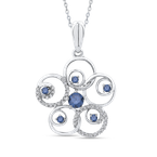 Essentials Sterling Silver 1/2 Ct Blue and White Diamond Fashion Pendant with Chain