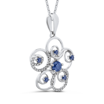 Sterling Silver 1/2 Ct Blue and White Diamond Fashion Pendant with Chain