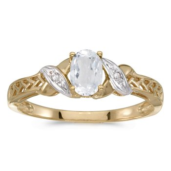 10k Yellow Gold Oval White Topaz And Diamond Ring