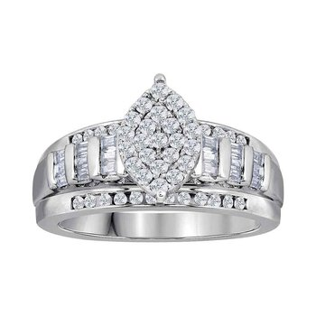 10kt White Gold Womens Round Diamond Oval Cluster Bridal Wedding Engagement Ring 3.00 Cttw