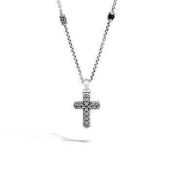 Classic Chain Cross Pendant in Silver with Gemstone
