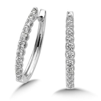 Pave set Diamond Oval Hoops in 14k White Gold (3/4ct. tw.) JK/I1