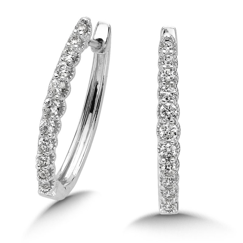 SDC Creations Pave set Diamond Oval Hoops in 14k White Gold (3/4ct. tw.) JK/I1