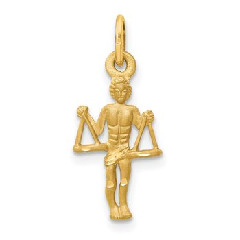 14k Satin Diamond-cut Libra Zodiac Charm