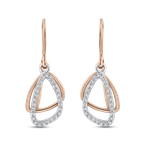 Essentials 1/5 ct Round Diamond 10K Two Tone Gold Fashion Dangle Earrings