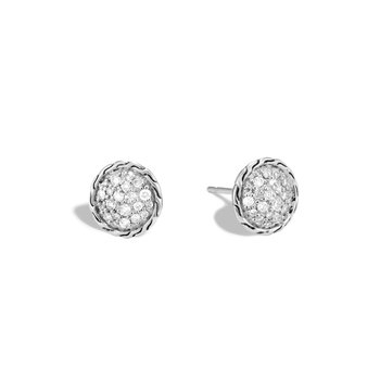 Classic Chain 10MM Stud Earring in Silver with Diamonds