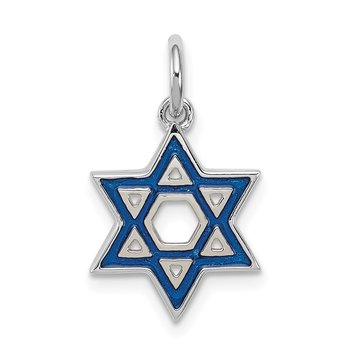 Sterling Silver Rhodium-plated Enameled Blue Star of David Charm