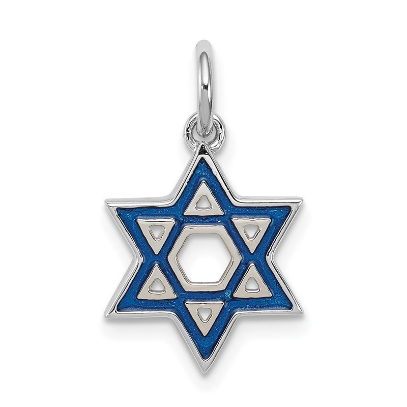 Quality Gold Sterling Silver Rhodium-plated Enameled Blue Star of David Charm