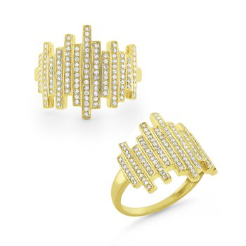 Diamond Scattered Line Ring Set in 14 Kt. Gold