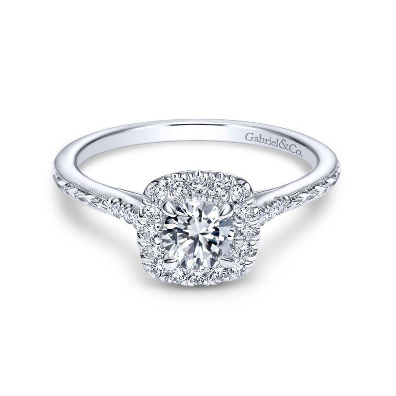 Gabriel  Vintage 14K White Gold Cushion Halo Round Diamond Engagement Ring