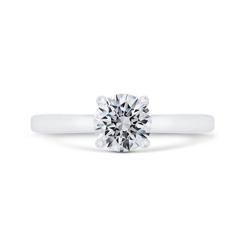 Carizza 14K White Gold Solitaire Engagement Ring with Euro Shank  (Semi-Mount)