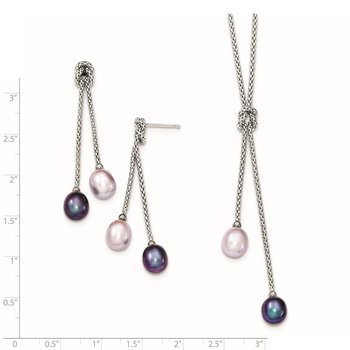 Sterling Silver RH-plated FWC Pearl Knot 18in Necklace/Earring Set