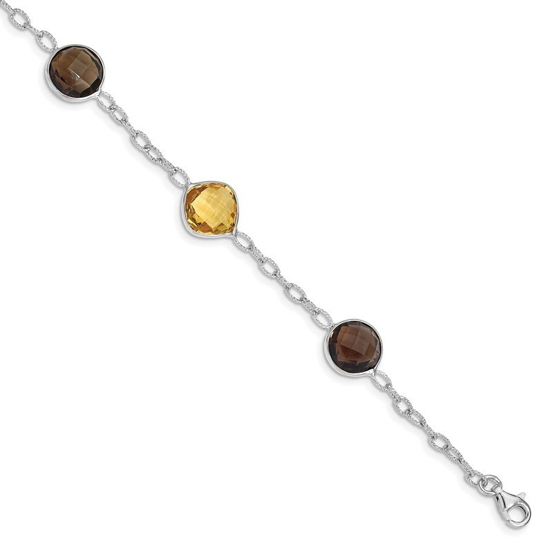 Quality Gold Sterling Silver Rhodium-plated Citrine & Smoky Quartz Bracelet