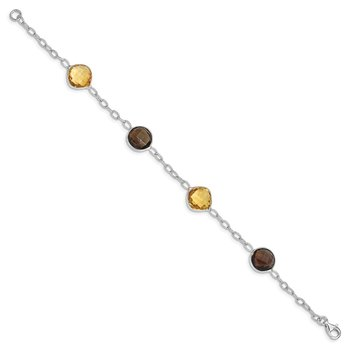 Sterling Silver Rhodium-plated Citrine & Smoky Quartz Bracelet