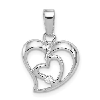 Sterling Silver Rhodium Plated CZ Open Double Heart Pendant