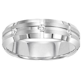 14K Diamond Men's Band 1/10 ctw