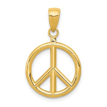 14k 3D Polished Peace Sign Charm